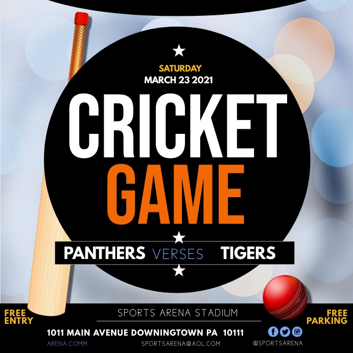 Cricket game Wpis na Instagrama template