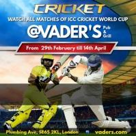 Cricket game invitation Square (1:1) template