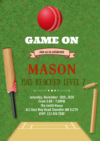 Cricket Game on birthday invitation A6 template
