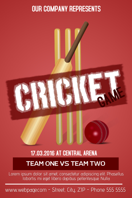 cricket game flyer template