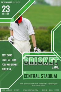 cricket game poster flyer template