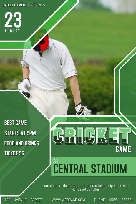 Cricket Tournament Anouncment Wording: Cricket Game Poster Flyer Template