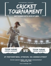 Cricket Game Video Design Template Flyer (US Letter)