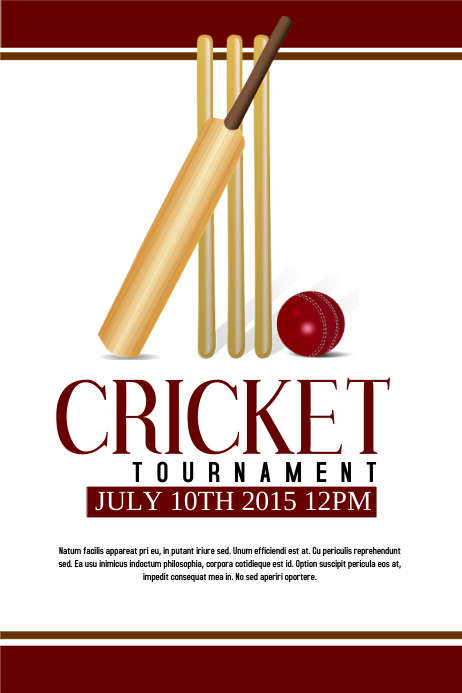 Invitation For Corporate Cricket Tournament: Cricket Template