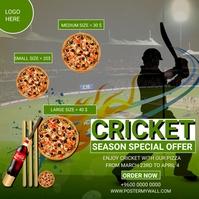 Cricket season special pizza offers restauran Сообщение Instagram template