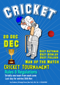 Cricket sport event poster flyer
