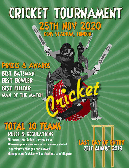 cricket sports flyer template poster postermywall