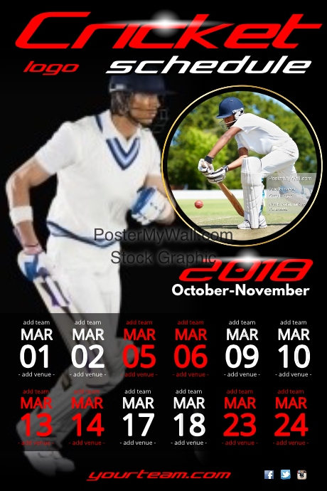 Cricket Team Game Schedule Poster