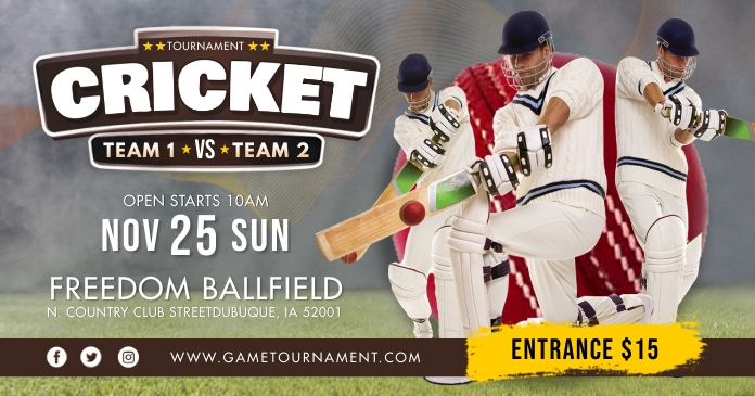 Cricket Tournament Banner Template Ibinahaging Larawan sa Facebook