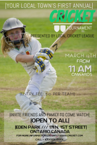 CRICKET TOURNAMENT Poster template