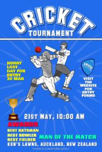 cricket tournament flyer banner paster