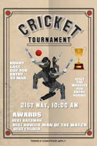 Cricket tournament flyer banner poster