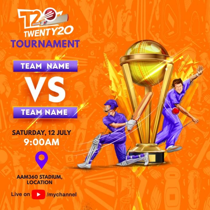Cricket Tournament Match Schedule Instagram Post template