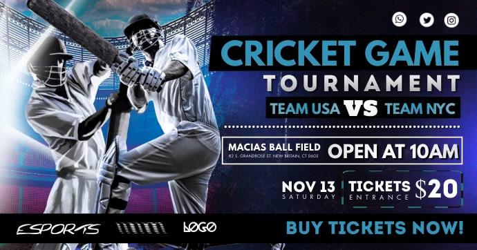 Cricket Tournament Poster Design Gambar Bersama Facebook template