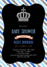 Crown baby shower invitation