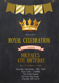 Crown birthday party invitation