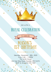 Crown prince birthday party invitation