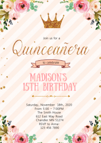 Crown princess 15th birthday party invitation