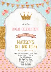 Crown princess birthday party invitation