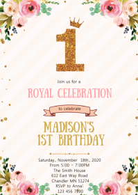 Crown princess birthday party invitation