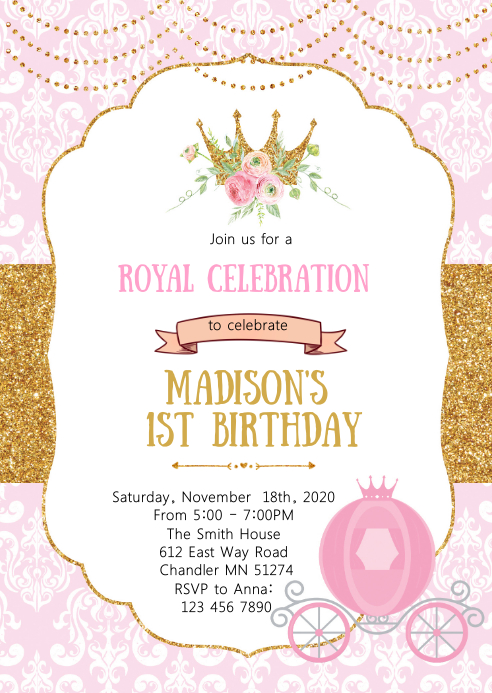 Crown Princess Birthday Party Invitation Template Postermywall