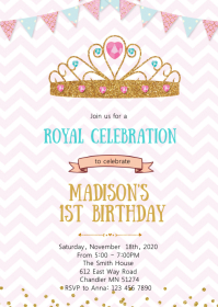 Crown princess birthday party invitation A6 template