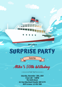 Cruise ship party invitation A6 template