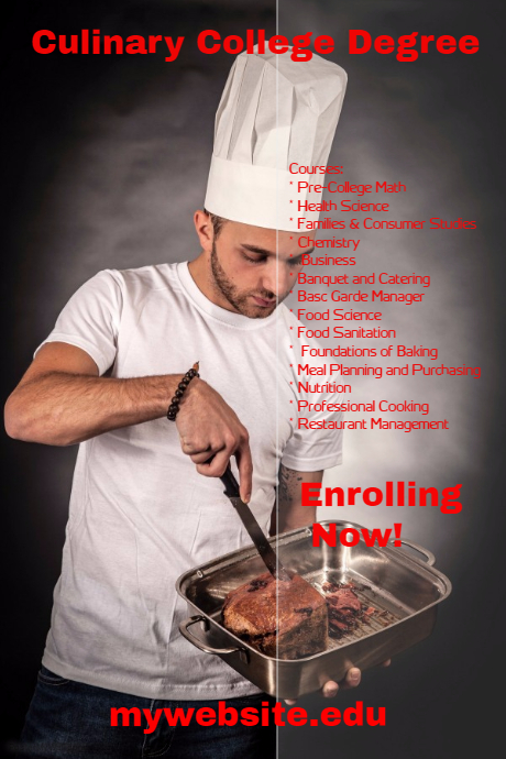 culinary college degree program template postermywall