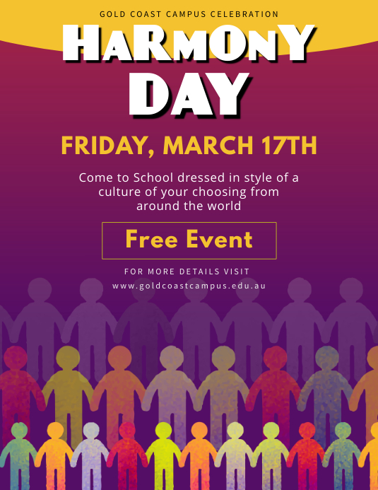 High Quality Cultural Harmony Day School Event Flyer Template