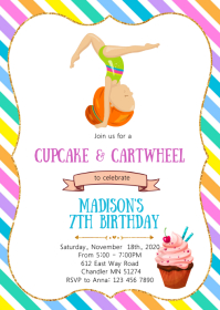 Cupcake and cartwheel birthday invitation A6 template