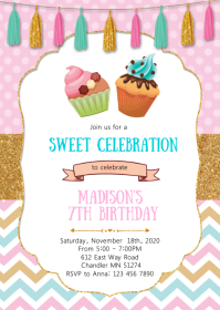 Cupcake and muffin birthday party invitation A6 template