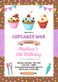 Cupcake baking birthday party invitation A6 template