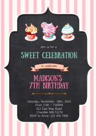 Cupcake birthday party invitation A6 template
