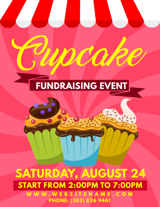 Cupcake Fundraiser Event Flyer Template | PosterMyWall
