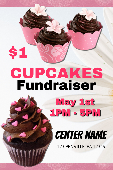 cupcake fundraiser flyer template