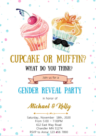 Cupcake or muffin gender reveal invitation