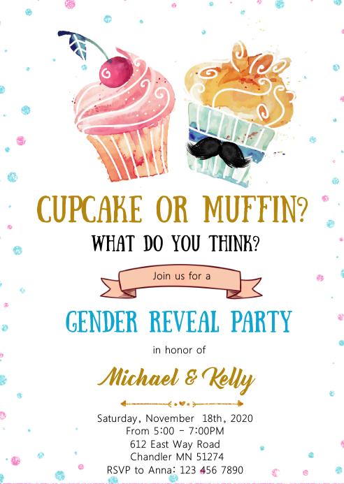 Cupcake or muffin gender reveal invitation