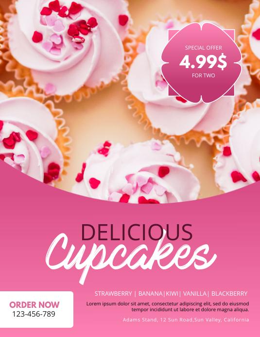 Cupcake Stand Flyer Design Template Løbeseddel (US Letter)