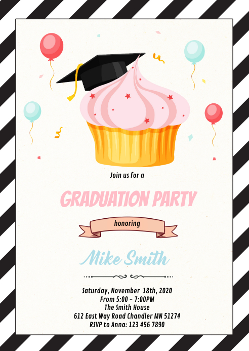 Cupcake Theme graduation invitation A6 template