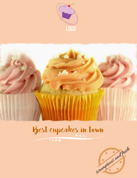 cupcakes marketing Løbeseddel (US Letter) template