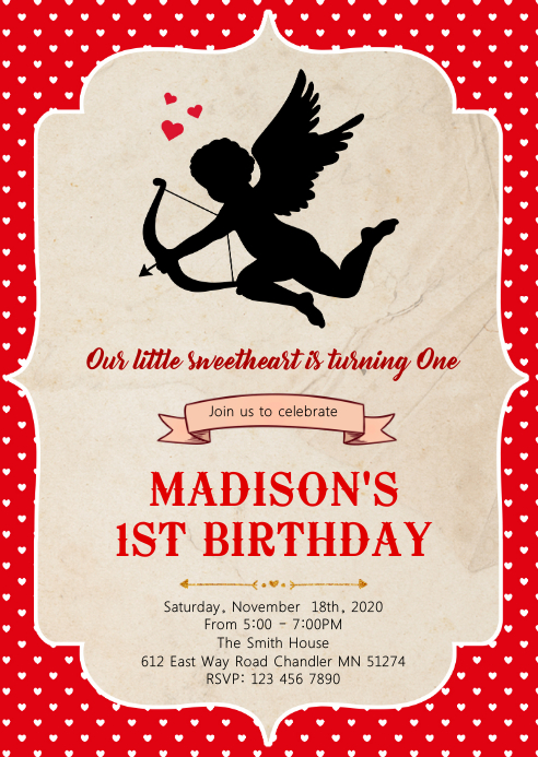 Cupid birthday party invitation A6 template