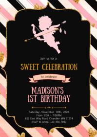 Cupid Sweetheart birthday party invitation