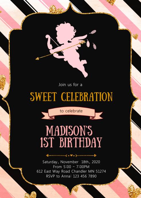 Cupid Sweetheart birthday party invitation