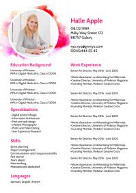 Curriculum vitae Lebenslauf Skills Card CV A4 template