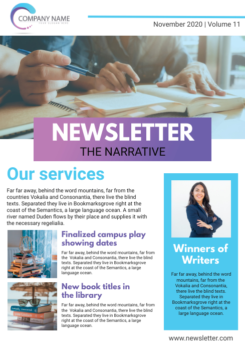 Custom Business Newsletter Page Template