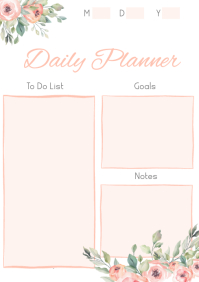 Custom Floral Daily Planner A4 template