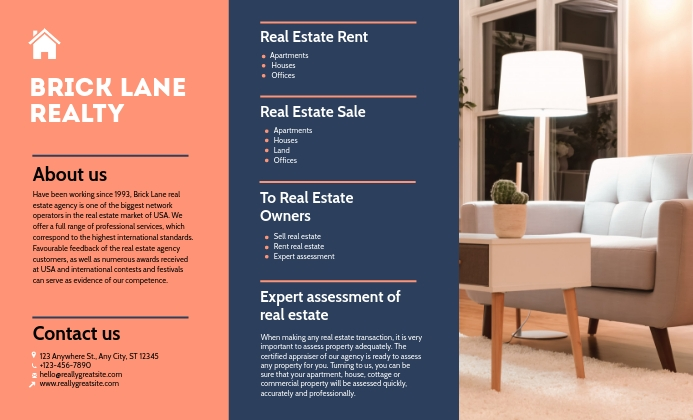 Custom Modern Housing Real Estate Agency Broc template