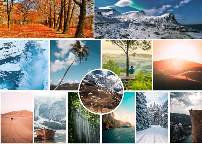 Custom Nature Photo Collage Kartu Pos template