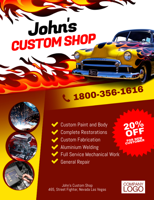 Custom Shop Paint & Body Flyer Template | PosterMyWall