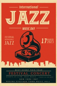 Custom Vintage Jazz Club Poster Design template